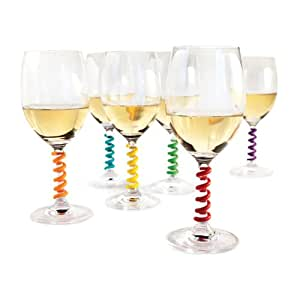 Stem Spring: Set of 6 Multicolored coil shaped Silicone Wine Glass Marker Charms by TrueZoo
