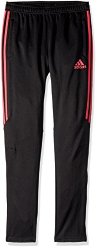 adidas Boys Soccer Tiro 17 Training Pants, Black/Real Pink, (Strictly Stripes)