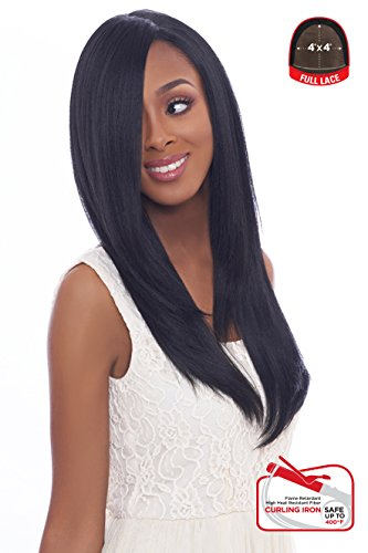 4x4 MULTI PARTING LACE WIG WITH SILK BASE, NATURAL STRAIGHT, Multi-Direction Part, FLS01 (FS1B/BG - OFF BLACK/BURGUNDY HLTD) ()
