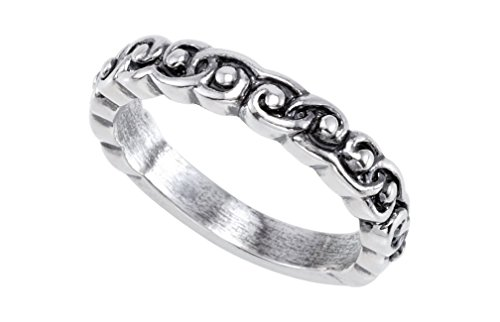 Antiqued Raised Scroll Design 3.8mm Stackable Sterling Silver Ring, Size 7