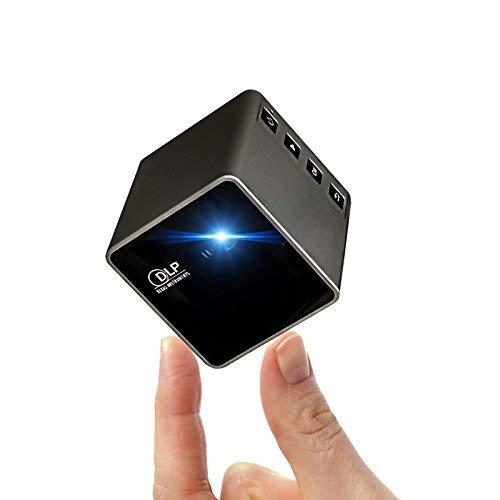 Mini Projector, P1S Mini Cube Projector DLP HD 1080P Home Cinema Projectors Wireless Portable WiFi for Smartphone