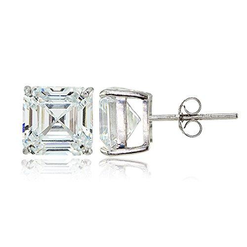 Sterling Silver Cubic Zirconia Asscher Cut Stud Earrings