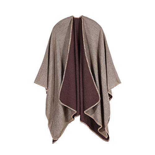HYIRI Beach Charm Gifts Square Winter Oversized Color Block Shawl Wrap Open Front Poncho Cape