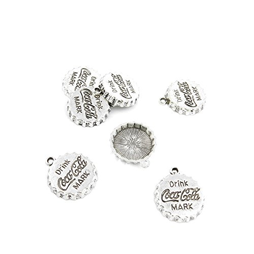 430 x Antique Silver Tone Jewelry Making Charms Findings Handmade Necklace Bracelet Bulk Lots Supplier Supply Crafting 52543 Coca Cola Drink Cap