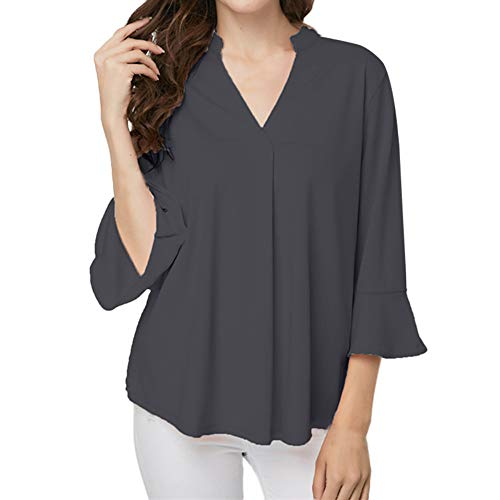 HULKAY Womens Tops Sale Clearance Upgrade Stylish 3/4 Ruffle Sleeve V Neck Pure Color Loose Tee-Shirt Sweatshirt Blouses(Black,5XL)