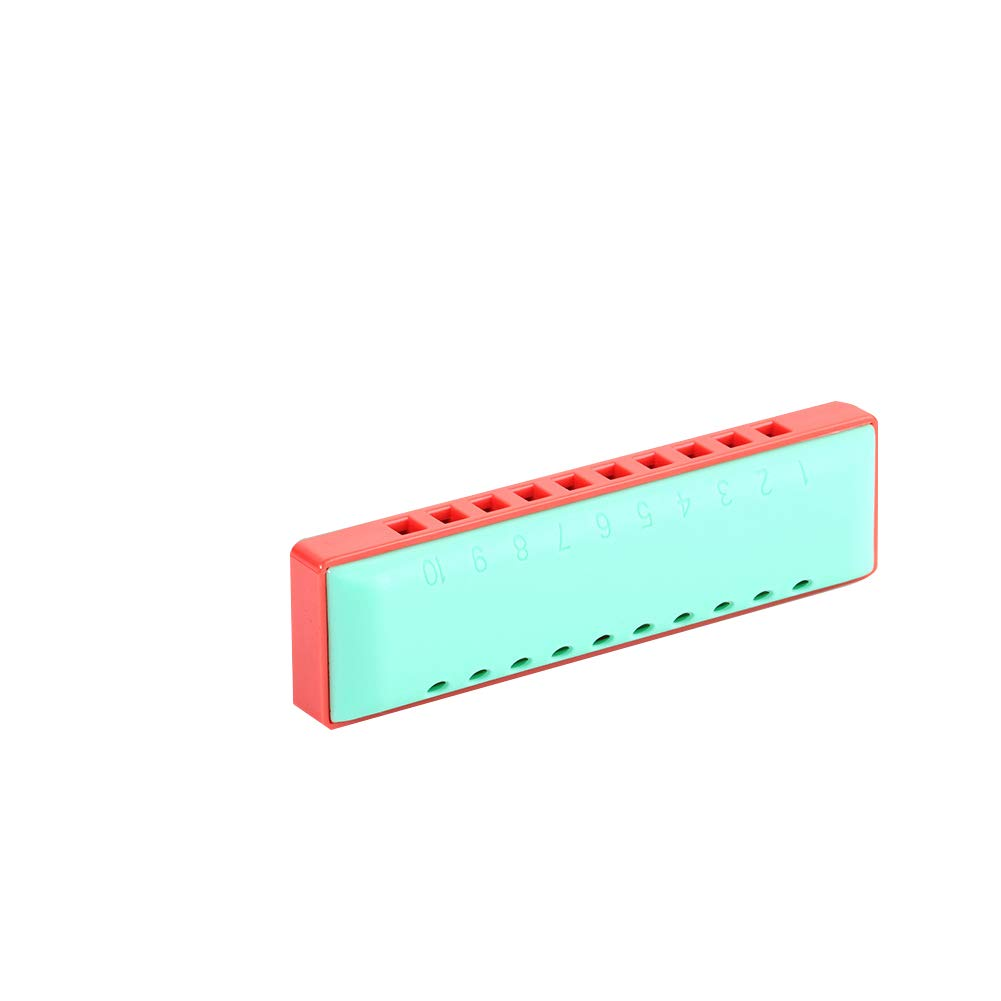 yanbirdfx 10 Holes Harmonica Musical Instrument Children Early Education Toy Kids Gift - Green + Red