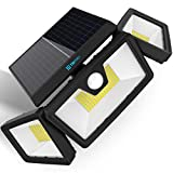 TBI Security Solar Lights Outdoor 216 LED 2200LM - Wireless LED Solar Flood Lights Outdoor Motion Sensor 40ft - Adjustable 355° widest 3 Heads - Spot Lights Solar Powered 2200mah Battery with 3 Modes (Color: Black)