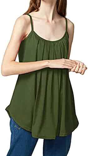 01110d62cad2b3 OOEOO Womens Plus Size Loose Sleeveless Solid Color Basic Camisole Tank Top  Vest