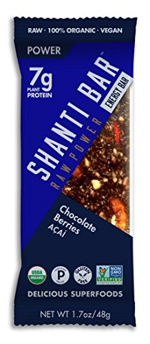 SHANTI BAR The Superfood Protein Bar, POWER ACAI - Chocolate Berries, 1.7 oz (Pack of 12)