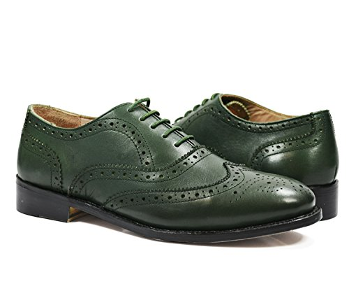 Paul Malone Full Brogue Oxford in Pine Green, All Leather (Full Brogue)