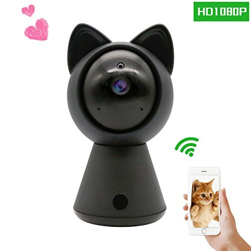 Cheap Pet IP Camera WiFi Cam HD 1080P Cute Cat camera Home Security Surveillance Wireless System Dome Camera Nanny Baby Cam Indoor Monitor Pan/Tilt with Night Vision 2-Way Audio Motion Detection alarm B