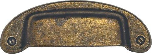 Bosetti Marella 100297.03 Bin Pull, 3.82-by-1.38-Inch, Antique Brass Distressed (Distressed Antique Brass Cup Pulls)