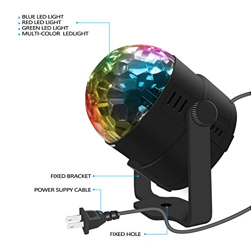 Stage Party Lights - Costech Portable Sound Activated DJ Lighting; RGB Auto Rotating Disco Ball; Strobe Lamp Stage Par Light; 7 Color Changing Crystal LED Ball for Club Pub/ Disco DJ Show by CT COSTECH (Image #2)