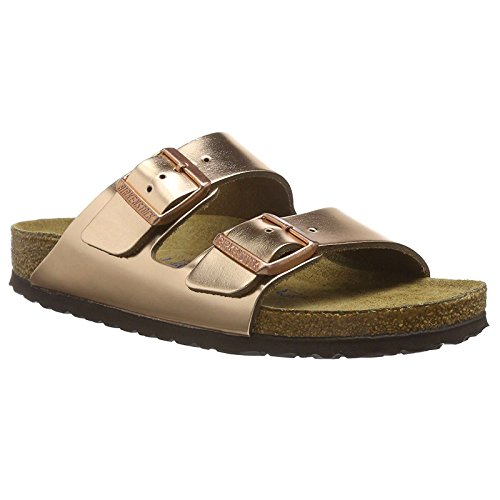 Birkenstock Unisex Arizona Metallic Copper Leather Sandals - 5-5.5 B(M) US - Leather Copper Metallic