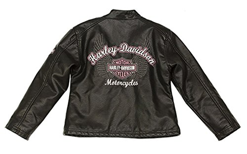 (Harley-Davidson Girls Youth Winged B&S Polyurethane Biker Style Black Jacket (3T))