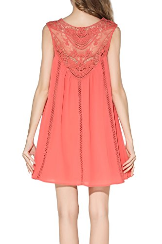 Casual Smily Little Baby Lace Doll Dress Loose Women's Chiffon Coral Fit Splicing E1qdqr