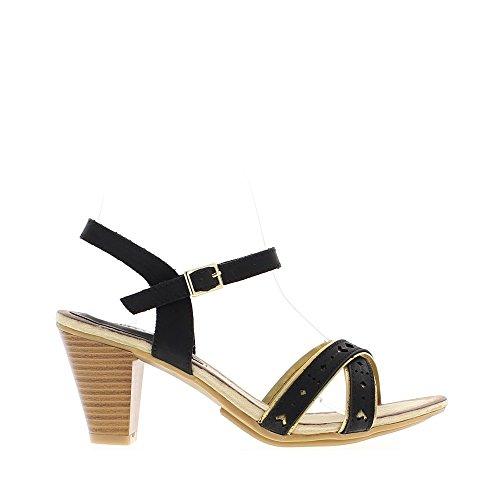 Sandales noires à talon de 7,5cm brides fines avec liseré doré