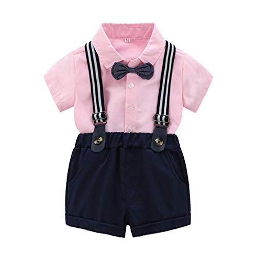 - Tem Doger Baby Boys Casual Suit Cotton Long Sleeve Striped Button Down Bowtie Shirt+Long Pants Clothes Set Outfit (Pink-3, 100/3T)