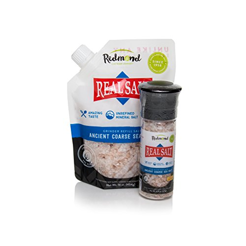 Redmond Real Sea Salt - Natural Unrefined Organic Gluten Free, Coarse Salt with Coarse Grinder (Original Bundle)