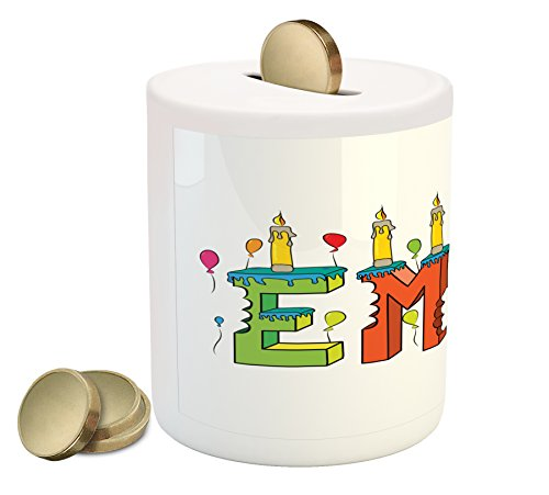 Ambesonne Emma Coin Box Bank, Popular Female First Name Design with Many Colors Candles and Balloons Birthday Theme, Printed Ceramic Coin Bank Money Box for Cash Saving, - Piggy Emma Bank