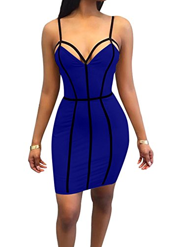 Doramode Womens Bodycon Backless Bandage Strapy Patchwork Peplum Short Tights Outfit Chic After Party Pretty Dress Royal Blue Small