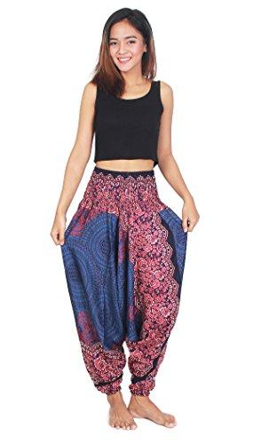 Fair Lady Designs Women's Aladdin Harem Jumpsuit Smocked Waist Circle Pants ()
