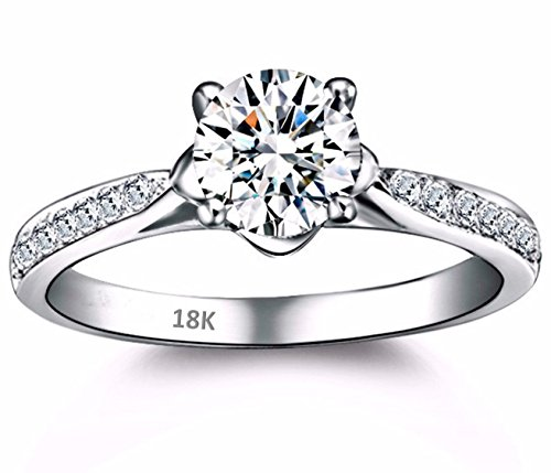AndreAngel Women Ring White Gold 18K Princess Cut/Lab Diamond 6 mm Carat Cubic Zirconia AAA+ / Bridal Birthday Dating Gift Anniversary Promise Engagement or Wedding Mother's Day - White Ring Gold 18k Wedding