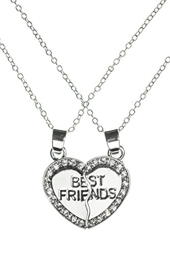best-friends-two-pieces-heart-handmade-alloy-pendant-double-necklace-by-beautifly-with-a-16-inch-cha