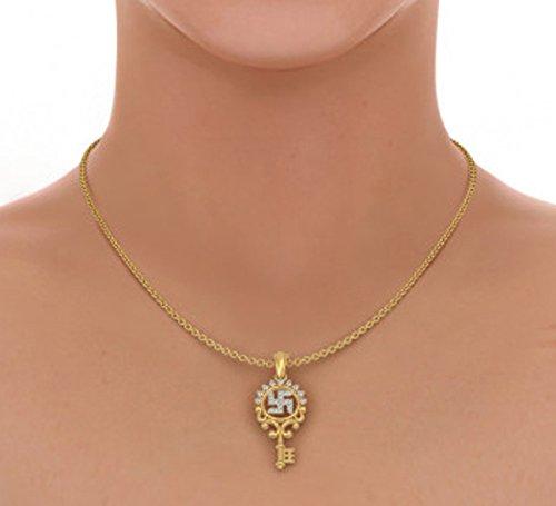 Or jaune 18K 0,22CT TW Round-cut-diamond (IJ | SI) Pendentif