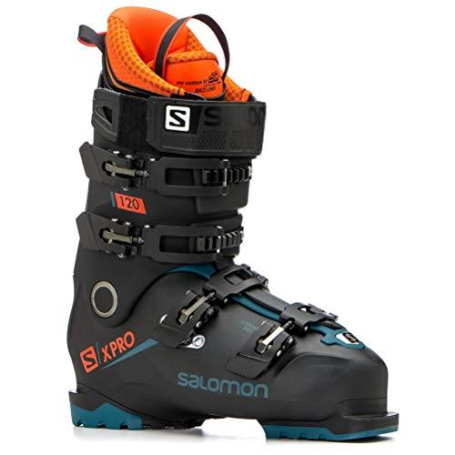 - Salomon X-Pro 120 Ski Boots - 26.5/Black-Moroccan Blue-Orange