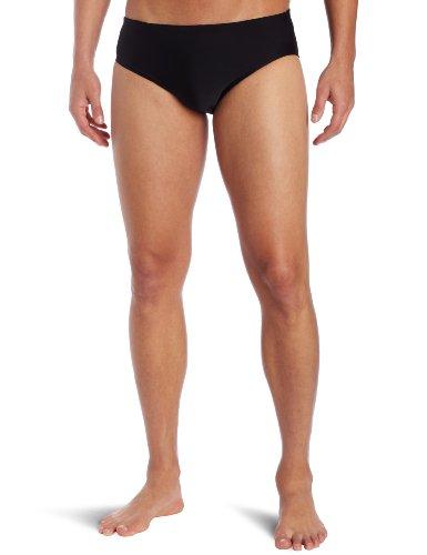 TYR Sport Men's Solid Racer Swim Suit (Black, 30) Black Racer Brief