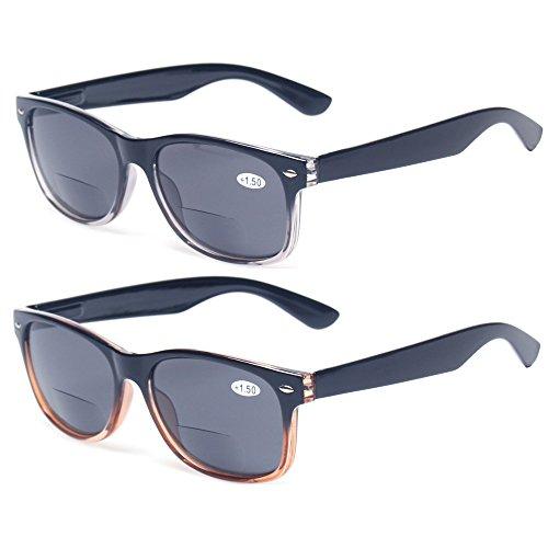 Bifocal Reading Glasses Grey Lens Spring Hinge Plastic Outdoor Sunglasses (1 Brown 1 Gray, 1.5)
