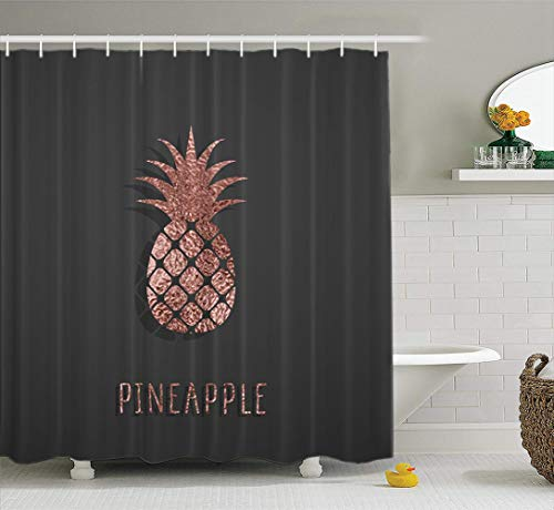 LILYMUA Rose Gold Fabric Bathroom Shower Curtain, Rose Gold Foil Pineapple Black Pink Sparkle Exotic Jungle with Bath Curtain Hooks Polyester Curtains Waterproof Bathroom Decor 72x78 Inch