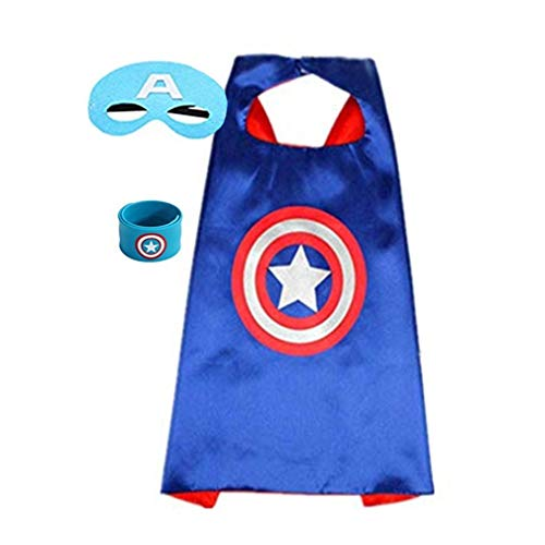Superhero Capes for Kids, Dress up Costumes-Satin Cape with Felt Mask and Bracelet (Captain America)]()
