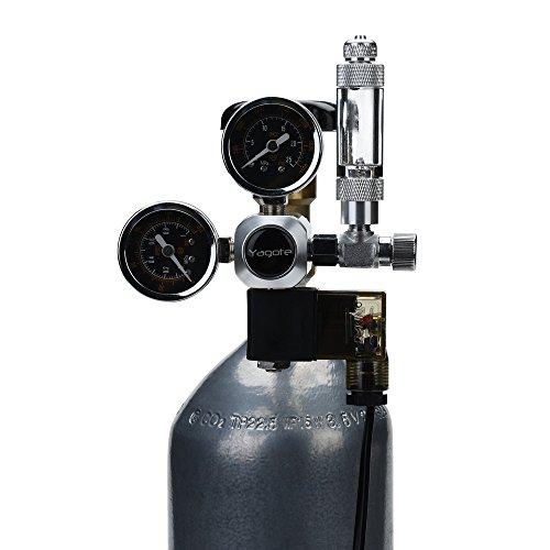 Yagote C02 Regulator Controller Carbon Dioxide Gauge Meter CO2 Pressure Reducer for Planted Aquarium Tank (Dual Gauge with Solenoid Valve) by Yagote
