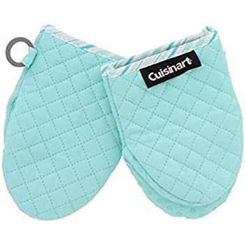 Cuisinart Silicone Mini Oven Mitts, 2pk -Little Oven Gloves for Cooking-Heat Resistant, Non-Slip Grip, Hanging Loop, 5.5 x 7.5 Inches - Ideal for Handling Hot Kitchen, Bakeware Items-Pastel Turquoise