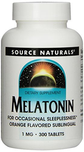 Source Naturals Melatonin  1mg, Orange, for Occasional Sleeplessness, 300 Sublingual Tablets