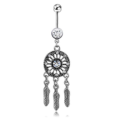 Power Wing Belly Button Rings Dangle Surgical Steel 14G Dream Catcher Navel Piercing Feather