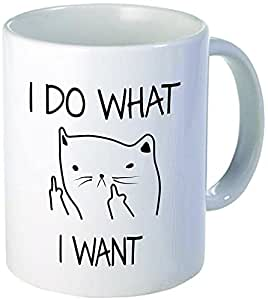 I Do What I Want Cat Face Middle Finger Funny Ceramic Coffee Mug, 11oz, White