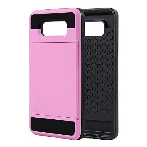 Telefon-Kasten - SODIAL(R)Karte Tasche Stossfeste Duenne Hybrid Mappe Abdeckung fuer Samsung Galaxy A7 Rosa
