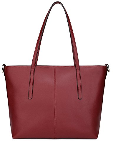Ilishop High Quality Women's New Fashion Handbag Genuine Leather Shoulder Bags Tote Bags Hot Sale (Winered-small) - Leather And Patent Leather Tote Bag