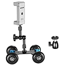 """Neewer® Mobile Rolling Sliding Dolly Stabilizer Skater Slider + 7"""" Articulating Magic Arm + Tripod Mini Ball Head + Two-way Smartphone Tripod Holder Mount"""