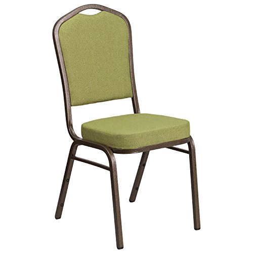 Flash Furniture HERCULES Series Crown Back Stacking Banquet Chair in Moss Fabric - Gold Vein - Gold And Store Green