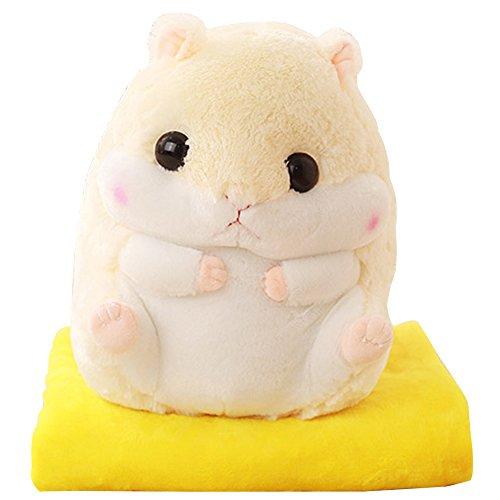 Kosbon 2 In 1 Cute Hamster Plush Stuffed Animal Toys Throw Pillow Blanket Set   White