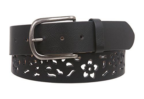 Women's Snap on Perforated Floral Laser Cut Leather Belt Size: S/M - 32 Color: Black