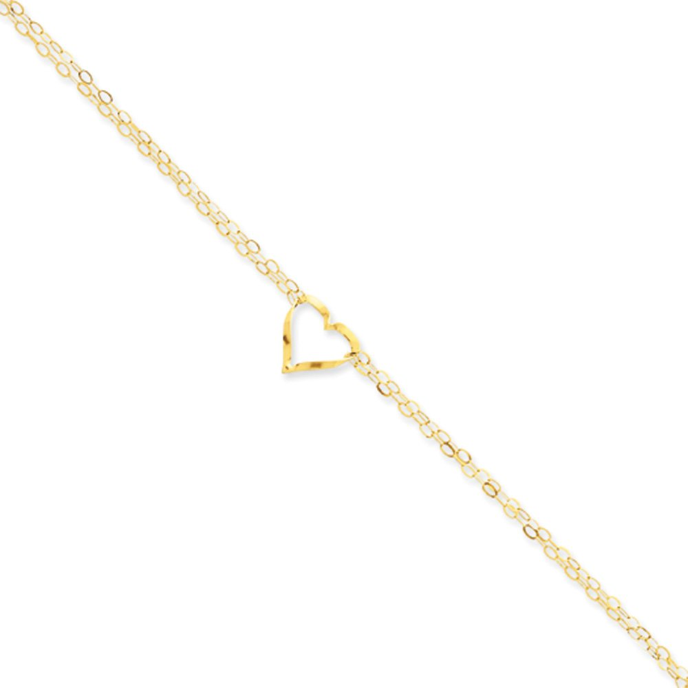 Black Bow Jewelry 14k Yellow Gold Open Heart Double Strand Anklet, 8-9 Inch