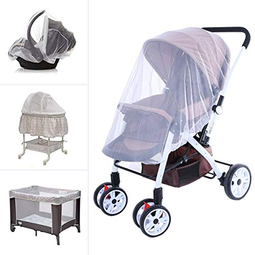 Hrzeem Baby Stroller Mosquito net Full Cover Encryption Breathable Summer Travel and Indoor (White)