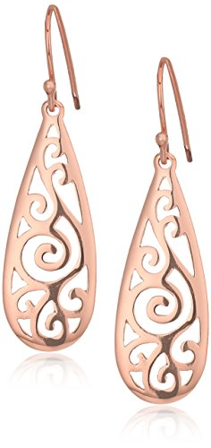 Gold Collection Jewelry (Rose Gold Over Sterling Silver Filigree Tear Drop Earrings)