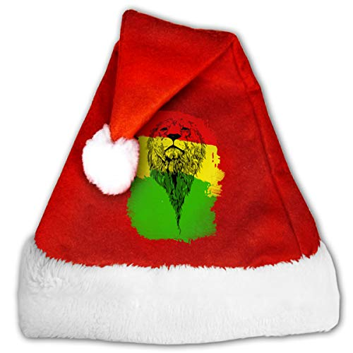 Alfred Weekjey Reggae Lion Vintage Rasta Santa Hat Christmas Hats with Plush Trim for Adults and Young -