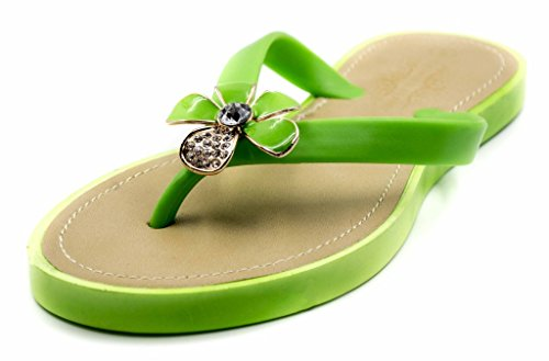 Green Jelly Sandals (Charles Albert Women's Jelly T-Strap Sandal with Flower and Rhinestones in Green Size: 9)